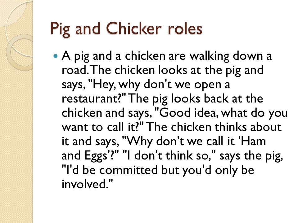 Pig and Chicker roles A pig and a chicken are walking down a road.