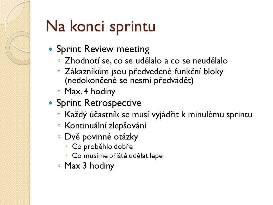 Na konci sprintu Sprint Review meeting ◦ Zhodnotí se, co se udělalo a co se neudělalo ◦ Zákazníkům jsou předvedené funkční bloky (nedokončené se nesmí