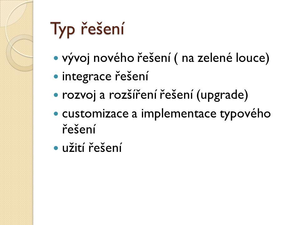 Typ řešení vývoj nového řešení ( na zelené louce) integrace řešení rozvoj a rozšíření řešení (upgrade) customizace a implementace typového řešení užit