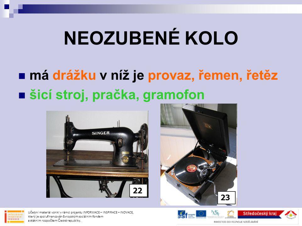 NEOZUBENÉ KOLO má drážku v níž je provaz, řemen, řetěz šicí stroj, pračka, gramofon Učební materiál vznikl v rámci projektu INFORMACE – INSPIRACE – IN