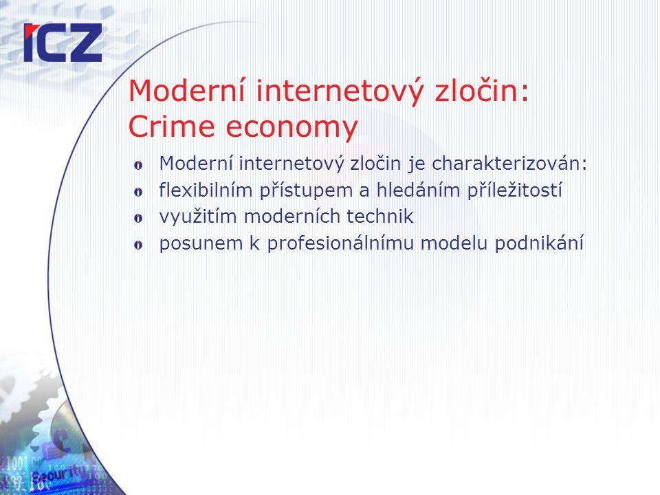 Moderní internetový zločin: Crime economy Moderní internetový zločin je charakterizován: flexibilním přístupem a hledáním příležitostí využitím modern