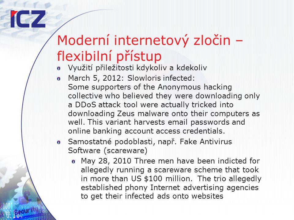 Moderní internetový zločin – flexibilní přístup Využití přiležitosti kdykoliv a kdekoliv March 5, 2012: Slowloris infected: Some supporters of the Ano
