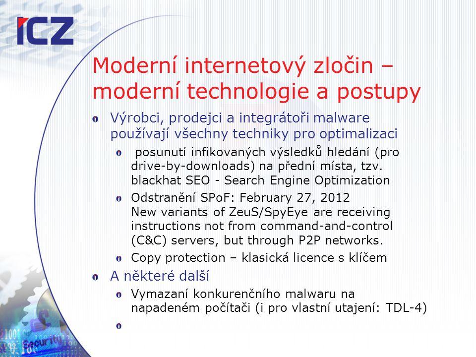 Moderní internetový zločin – moderní technologie a postupy Výrobci, prodejci a integrátoři malware používají všechny techniky pro optimalizaci posunut