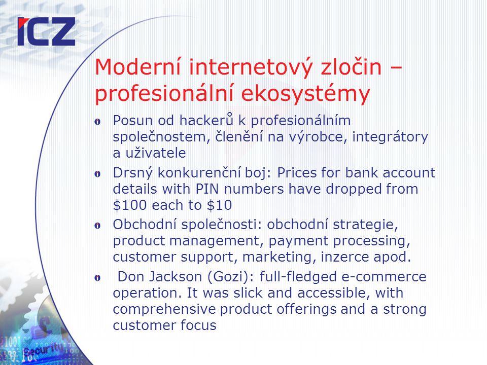 Moderní internetový zločin – profesionální ekosystémy Posun od hackerů k profesionálním společnostem, členění na výrobce, integrátory a uživatele Drsn