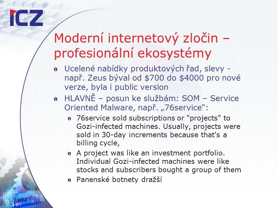Moderní internetový zločin – profesionální ekosystémy Ucelené nabídky produktových řad, slevy - např. Zeus býval od $700 do $4000 pro nové verze, byla