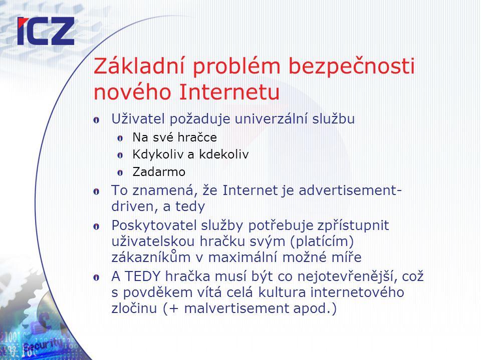 Základní problém bezpečnosti nového Internetu Uživatel požaduje univerzální službu Na své hračce Kdykoliv a kdekoliv Zadarmo To znamená, že Internet j