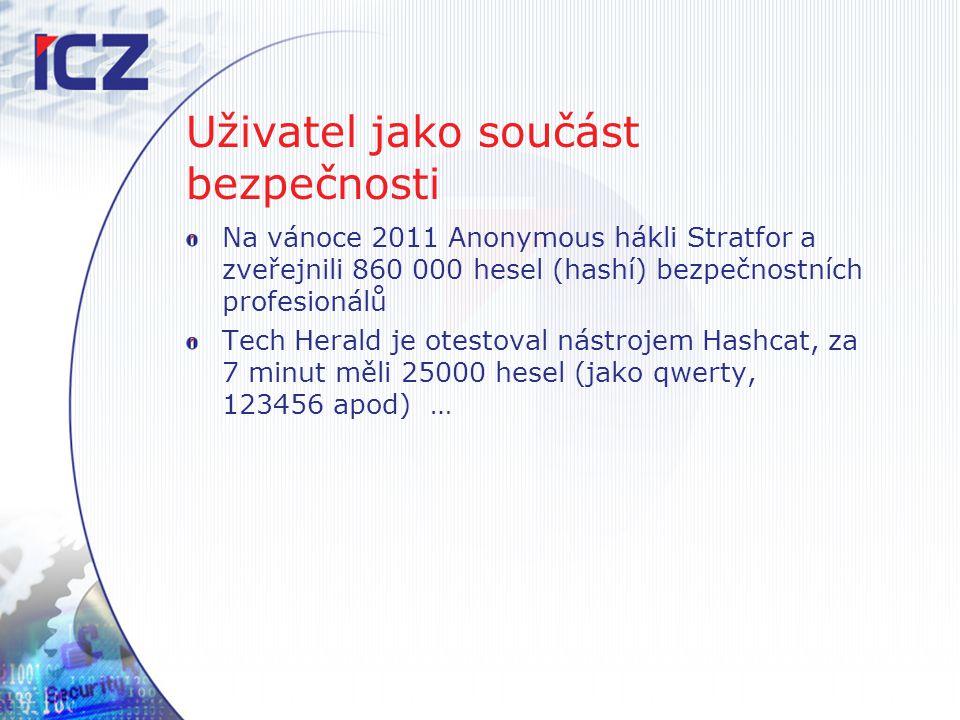 Uživatel jako součást bezpečnosti Na vánoce 2011 Anonymous hákli Stratfor a zveřejnili 860 000 hesel (hashí) bezpečnostních profesionálů Tech Herald j
