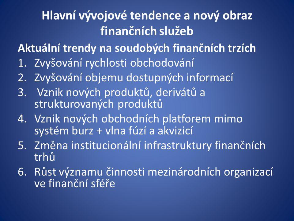 Hlavní vývojové tendence a nový obraz finančních služeb Aktuální trendy na soudobých finančních trzích 1.Zvyšování rychlosti obchodování 2.Zvyšování objemu dostupných informací 3.
