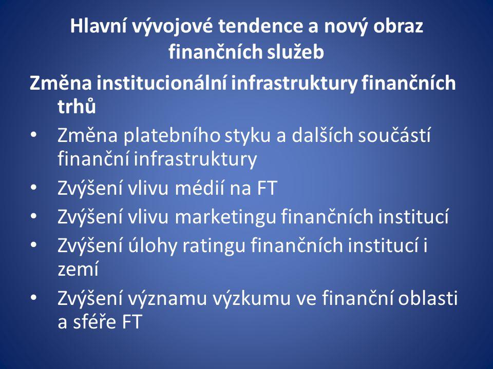 Hlavní vývojové tendence a nový obraz finančních služeb Změna institucionální infrastruktury finančních trhů Změna platebního styku a dalších součástí finanční infrastruktury Zvýšení vlivu médií na FT Zvýšení vlivu marketingu finančních institucí Zvýšení úlohy ratingu finančních institucí i zemí Zvýšení významu výzkumu ve finanční oblasti a sféře FT