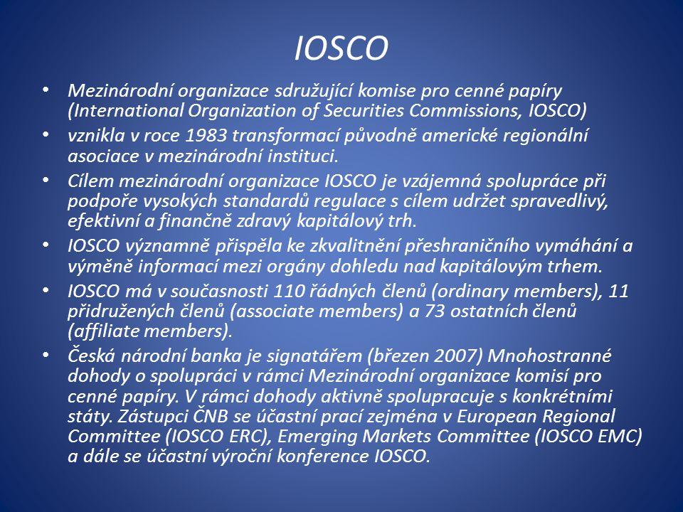 IOSCO Mezinárodní organizace sdružující komise pro cenné papíry (International Organization of Securities Commissions, IOSCO) vznikla v roce 1983 transformací původně americké regionální asociace v mezinárodní instituci.