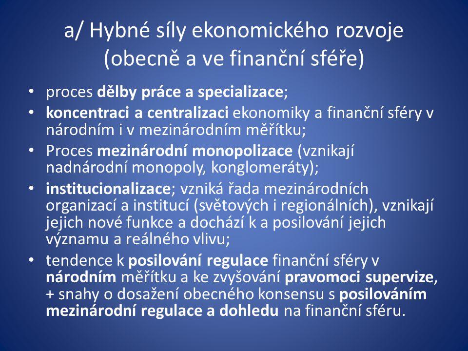 Hlavní vývojové tendence a nový obraz finančních služeb Sekuritizace Proces relativního snižování objemu finančních prostředků, jež jsou alokovány prostřednictvím bankovních úvěrů, a zároveň k relativnímu zvyšování objemu finančních prostředků, které jsou alokovány prostřednictvím cenných papírů.