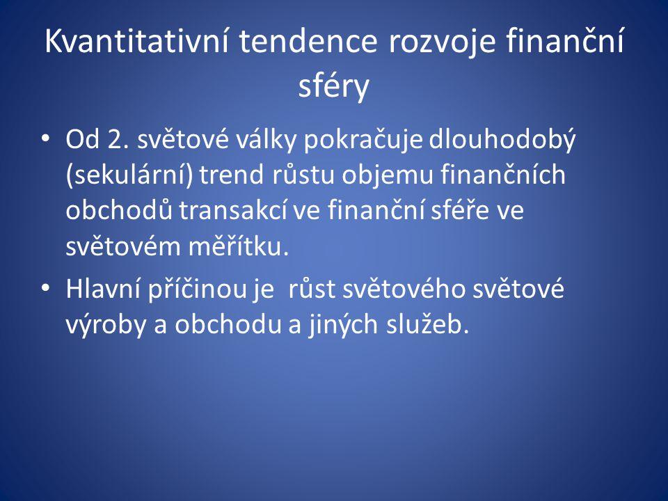 Kvantitativní tendence rozvoje finanční sféry Od 2.