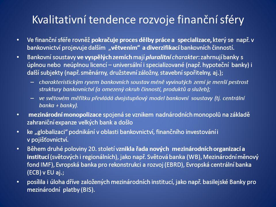 Kvalitativní tendence rozvoje finanční sféry Ve finanční sféře rovněž pokračuje proces dělby práce a specializace, který se např.