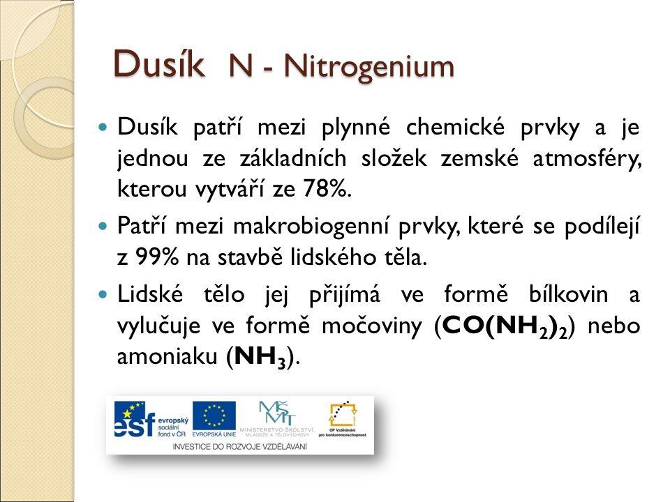 Dusík N - Nitrogenium Dusík patří mezi plynné chemické prvky a je jednou ze základních složek zemské atmosféry, kterou vytváří ze 78%. Patří mezi makr