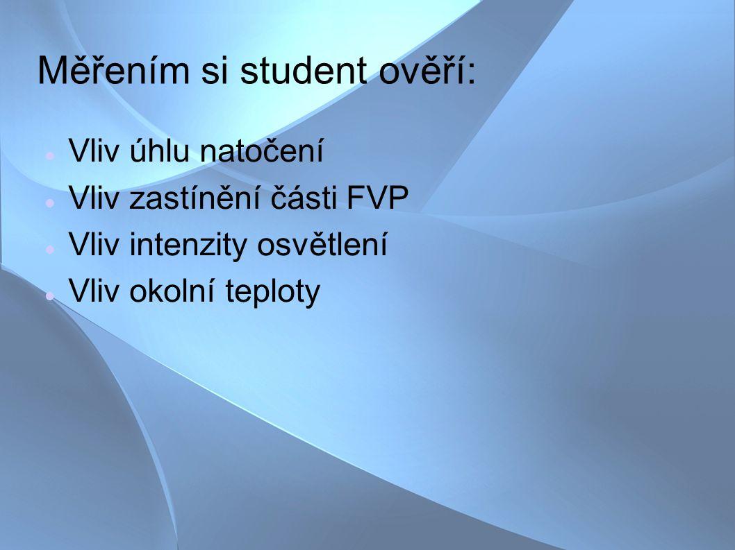Teoretický úvod Princip FVČ Konstrukce FVP Typy FVČ Watt peak Zelený bonus