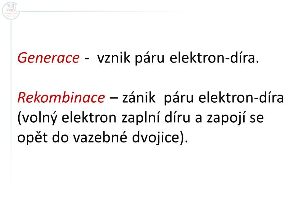 Generace - vznik páru elektron-díra. Rekombinace – zánik páru elektron-díra (volný elektron zaplní díru a zapojí se opět do vazebné dvojice).