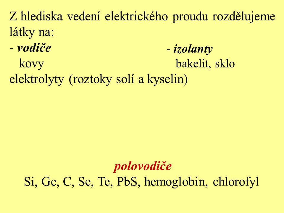 Z hlediska vedení elektrického proudu rozdělujeme látky na: - vodiče kovy elektrolyty (roztoky solí a kyselin) polovodiče Si, Ge, C, Se, Te, PbS, hemo