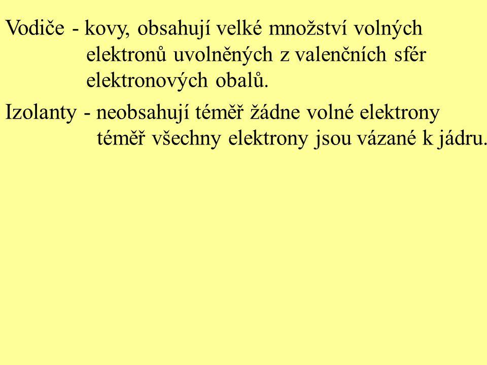 Vodiče - kovy, obsahují velké množství volných elektronů uvolněných z valenčních sfér elektronových obalů. Izolanty - neobsahují téměř žádne volné ele