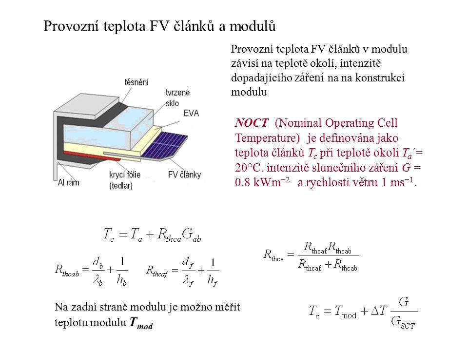 Provozní teplota FV článků a modulů Na zadní straně modulu je možno měřit teplotu modulu T mod NOCT (Nominal Operating Cell Temperature) je definována