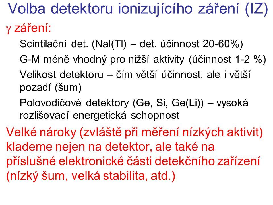 Volba detektoru ionizujícího záření (IZ)  záření: Scintilační det. (NaI(Tl) – det. účinnost 20-60%) G-M méně vhodný pro nižší aktivity (účinnost 1-2