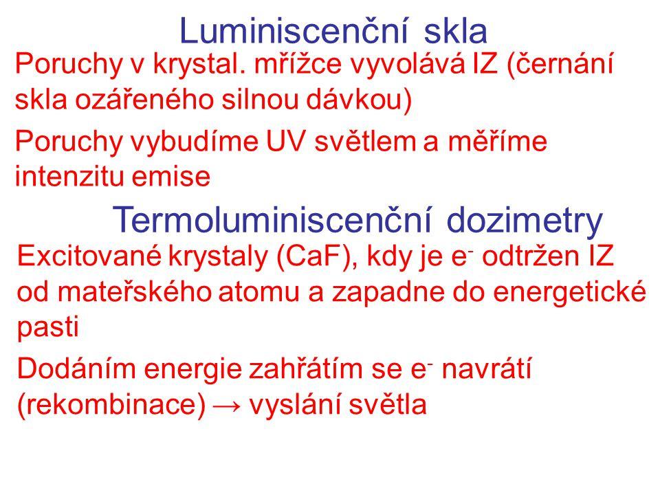 Luminiscenční skla Poruchy v krystal. mřížce vyvolává IZ (černání skla ozářeného silnou dávkou) Poruchy vybudíme UV světlem a měříme intenzitu emise T