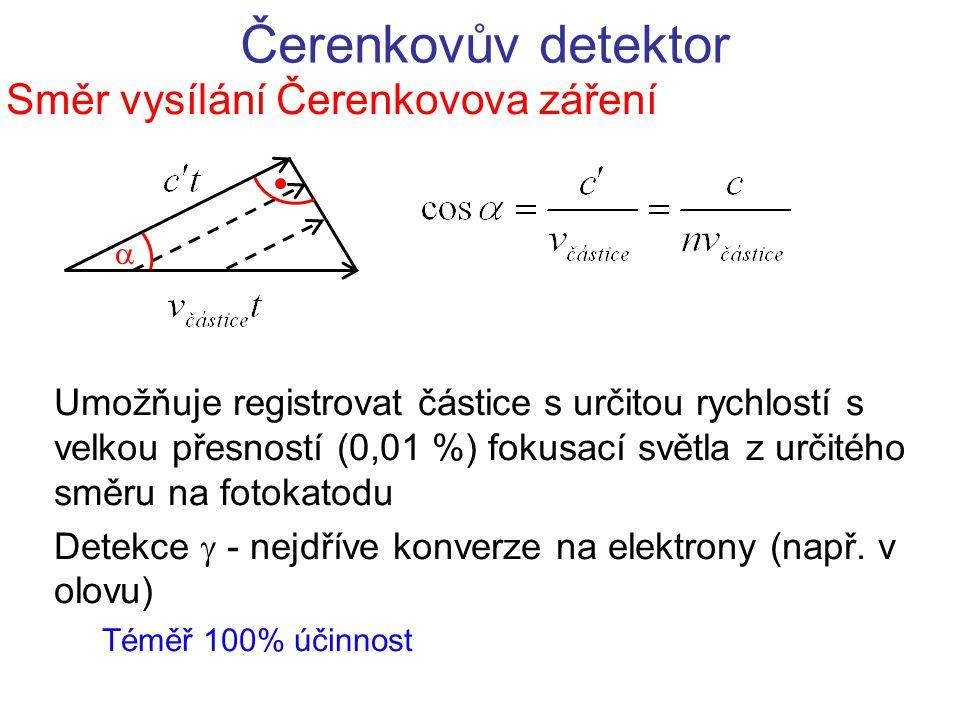 Čerenkovův detektor Směr vysílání Čerenkovova záření Umožňuje registrovat částice s určitou rychlostí s velkou přesností (0,01 %) fokusací světla z ur
