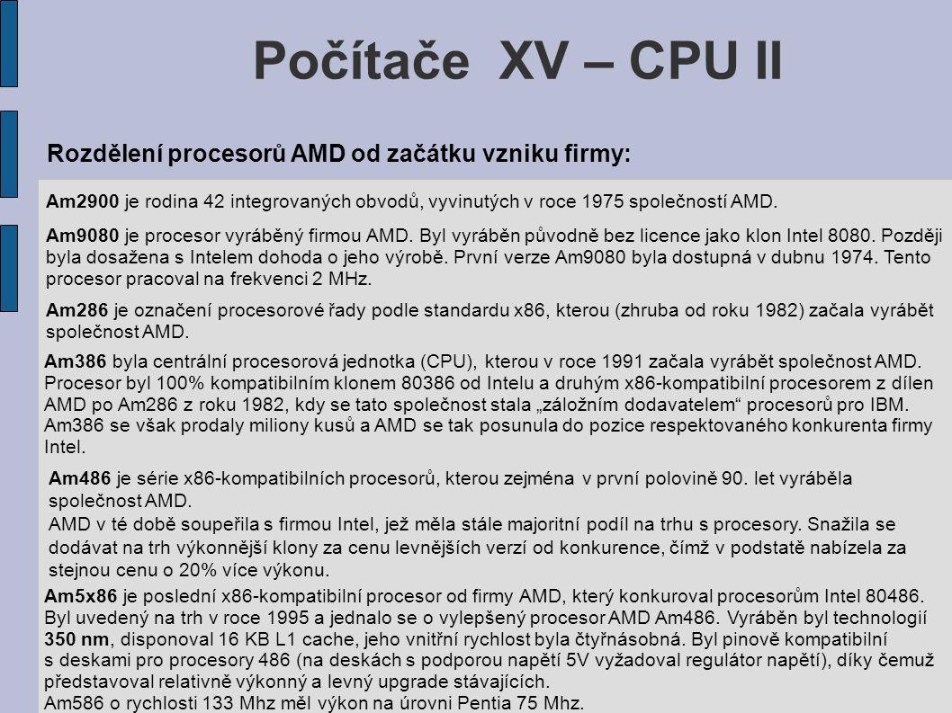 Počítače XV – CPU II Am286 je označení procesorové řady podle standardu x86, kterou (zhruba od roku 1982) začala vyrábět společnost AMD.
