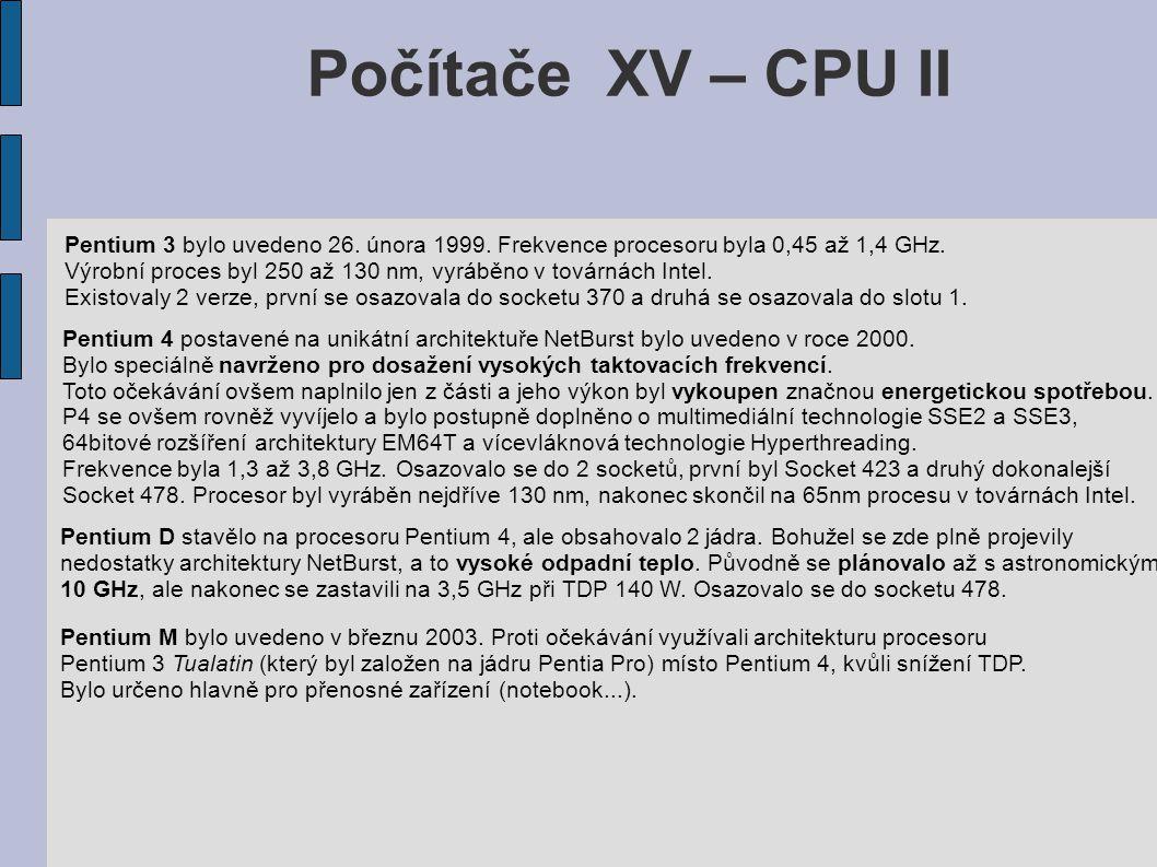 Počítače XV – CPU II Pentium 3 bylo uvedeno 26. února 1999.