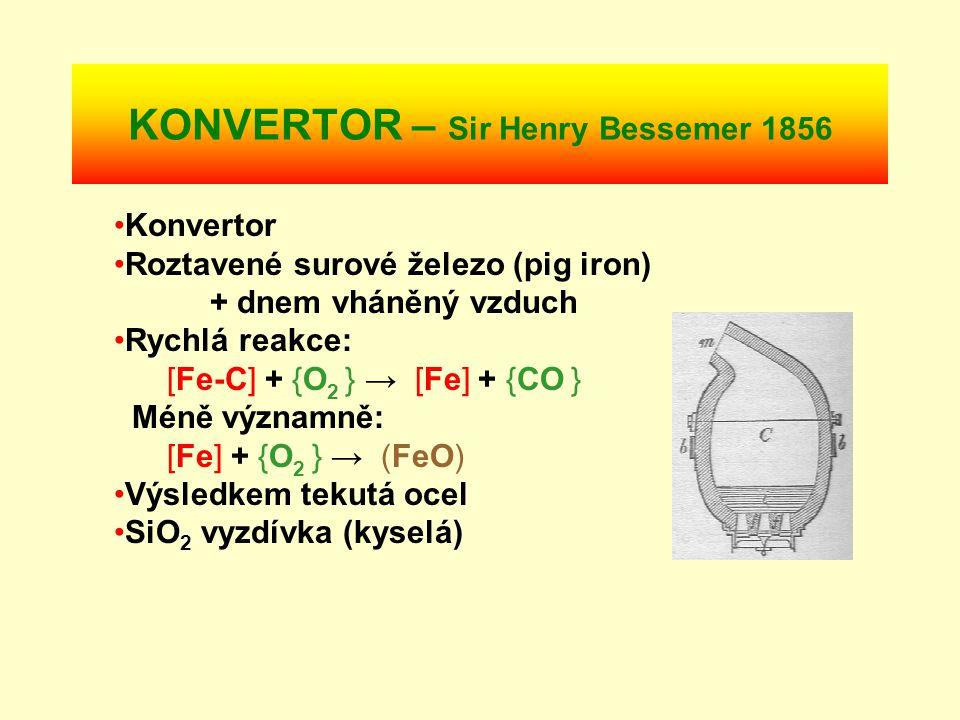 PUDLOVÁNÍ - Henry Cort 1780 Kelímková pec Roztavené surové železo (pig iron) + vzduch Reakce: Fe-C(ℓ) + O 2 (g) → Fe( s ) + Fe-C(ℓ) + CO(g) nebo: [Fe-