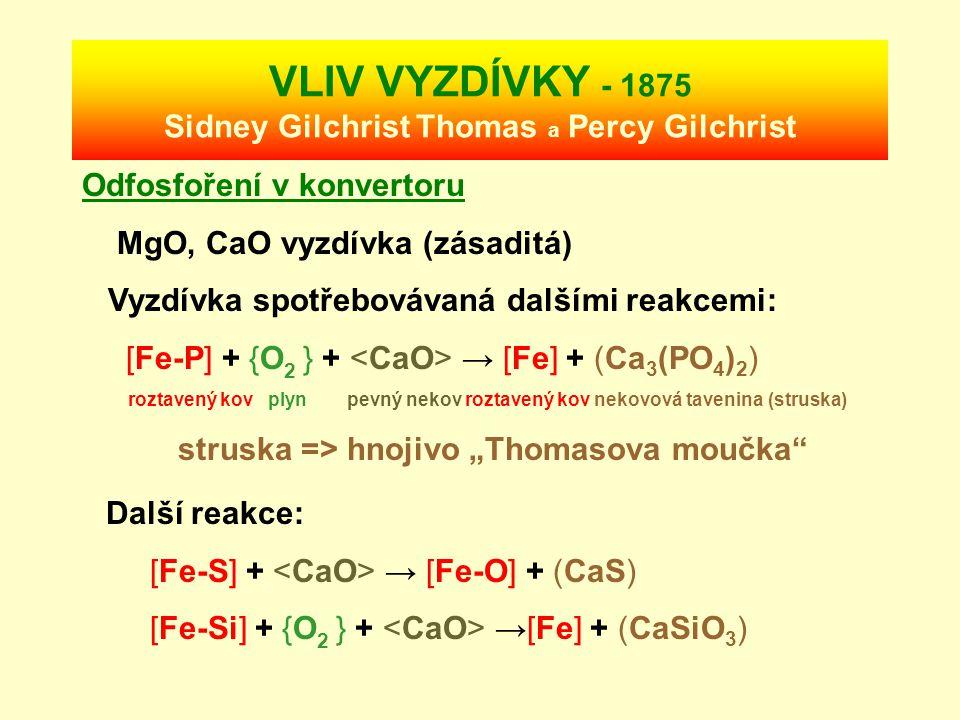 KONVERTOR – Sir Henry Bessemer 1856 Konvertor Roztavené surové železo (pig iron) + dnem vháněný vzduch Rychlá reakce: [Fe-C] + {O 2 } → [Fe] + {CO } M