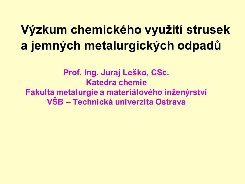 50 % Fe 6 % Zn 2 % Pb 0,3 % Cd ……. 30 Kč/kg 18 Kč/kg Skládkování odprašků Dávka za rok: ČR: 50- 100 000 t (5-10 kg/osobu) Cena za skládkování 100 000