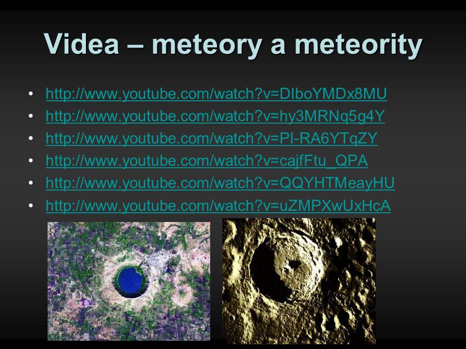 Videa – meteory a meteority http://www.youtube.com/watch?v=DIboYMDx8MU http://www.youtube.com/watch?v=hy3MRNq5g4Y http://www.youtube.com/watch?v=PI-RA6YTqZY http://www.youtube.com/watch?v=cajfFtu_QPA http://www.youtube.com/watch?v=QQYHTMeayHU http://www.youtube.com/watch?v=uZMPXwUxHcA