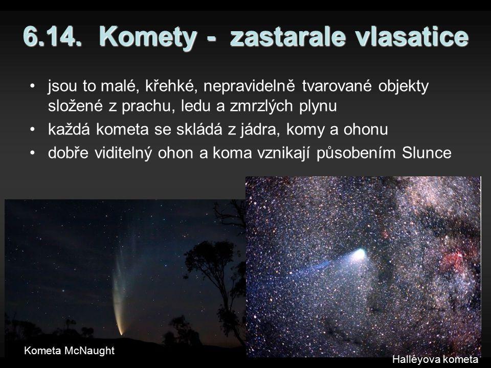 6.14. Komety - zastarale vlasatice jsou to malé, křehké, nepravidelně tvarované objekty složené z prachu, ledu a zmrzlých plynu každá kometa se skládá