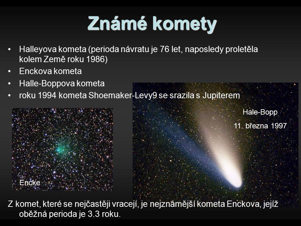 Známé komety Halleyova kometa (perioda návratu je 76 let, naposledy proletěla kolem Země roku 1986) Enckova kometa Halle-Boppova kometa roku 1994 kome
