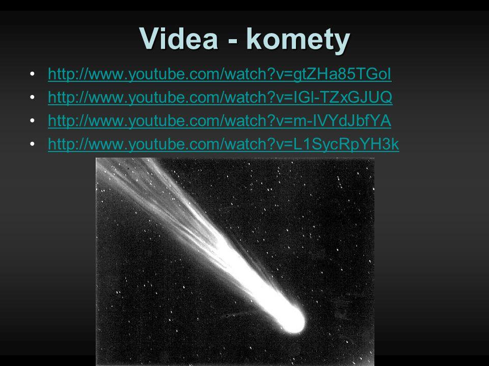 Videa - komety http://www.youtube.com/watch?v=gtZHa85TGoI http://www.youtube.com/watch?v=IGl-TZxGJUQ http://www.youtube.com/watch?v=m-IVYdJbfYA http:/