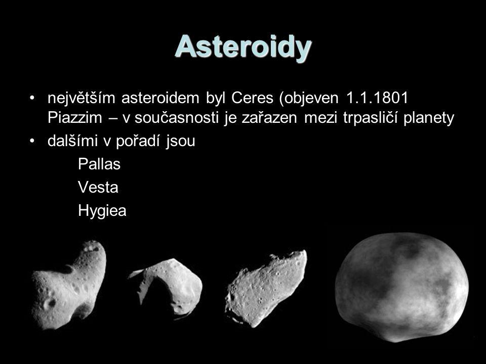 Asteroidy největším asteroidem byl Ceres (objeven 1.1.1801 Piazzim – v současnosti je zařazen mezi trpasličí planety dalšími v pořadí jsou Pallas Vesta Hygiea