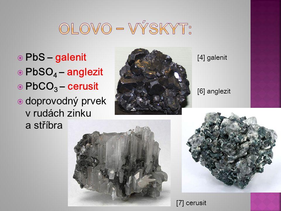  PbS – galenit  PbSO 4 – anglezit  PbCO 3 – cerusit  doprovodný prvek v rudách zinku a stříbra [4] galenit [6] anglezit [7] cerusit