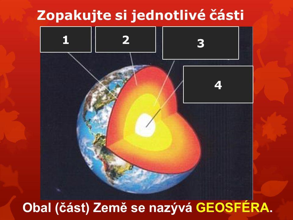 Zopakujte si jednotlivé části Obal (část) Země se nazývá GEOSFÉRA. 12 3 4