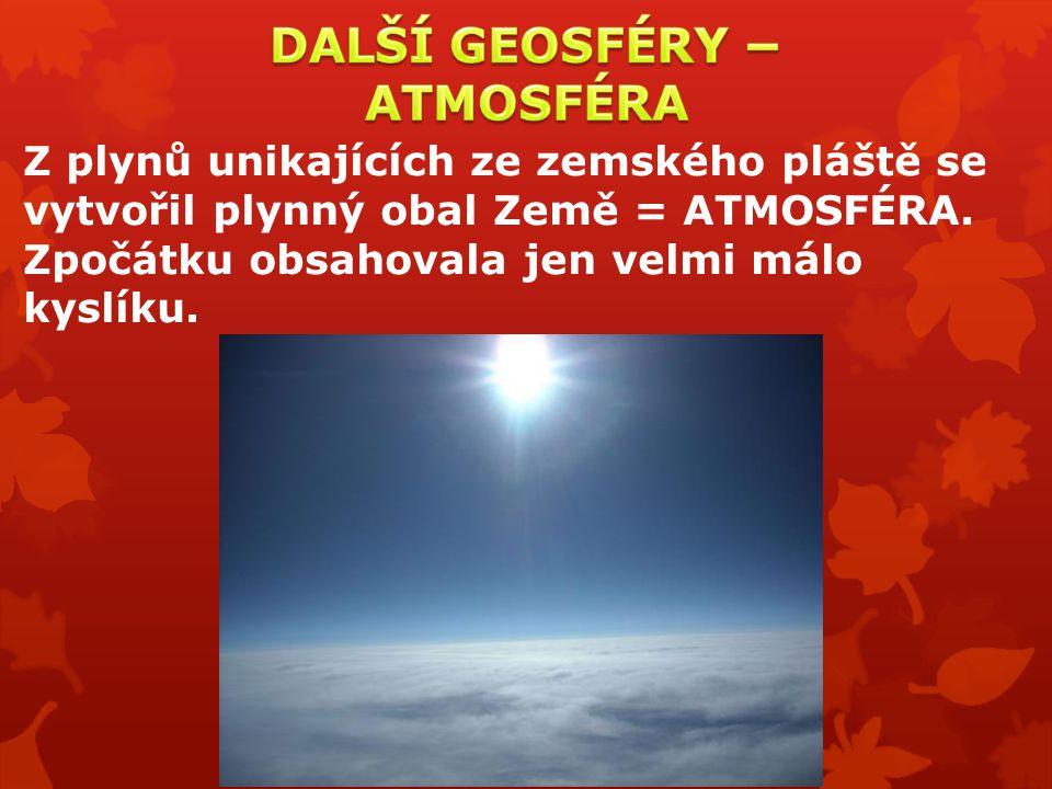 Z plynů unikajících ze zemského pláště se vytvořil plynný obal Země = ATMOSFÉRA. Zpočátku obsahovala jen velmi málo kyslíku.