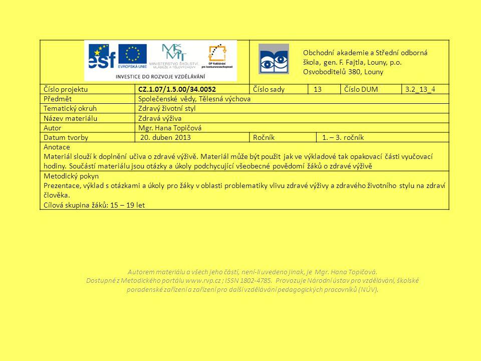 Obchodní akademie a Střední odborná škola, gen. F. Fajtla, Louny, p.o. Osvoboditelů 380, Louny Číslo projektu CZ.1.07/1.5.00/34.0052Číslo sady 13Číslo