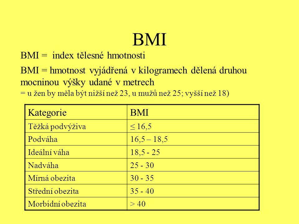 BMI BMI = hmotnost vyjádřená v kilogramech dělená druhou mocninou výšky udané v metrech = u žen by měla být nižší než 23, u mužů než 25; vyšší než 18)