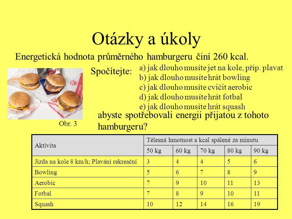 Otázky a úkoly Energetická hodnota průměrného hamburgeru činí 260 kcal. Obr. 3 19 11 13 9 6 90 kg 16141210Squash 10987Fotbal 111097Aerobic 8765Bowling