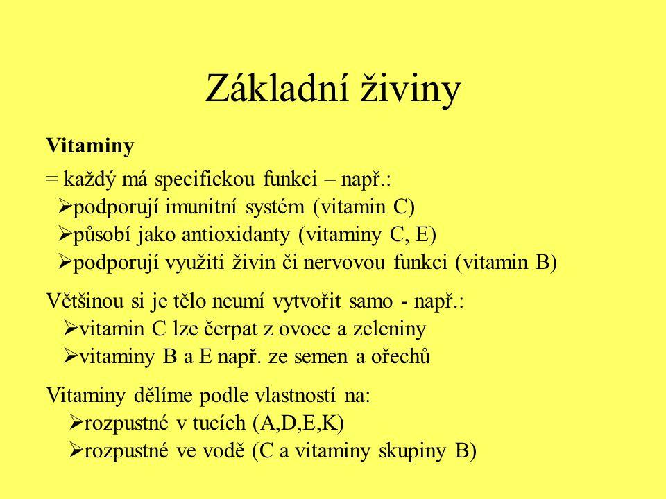 Základní živiny Vitaminy  rozpustné ve vodě (C a vitaminy skupiny B) = každý má specifickou funkci – např.:  podporují imunitní systém (vitamin C) 