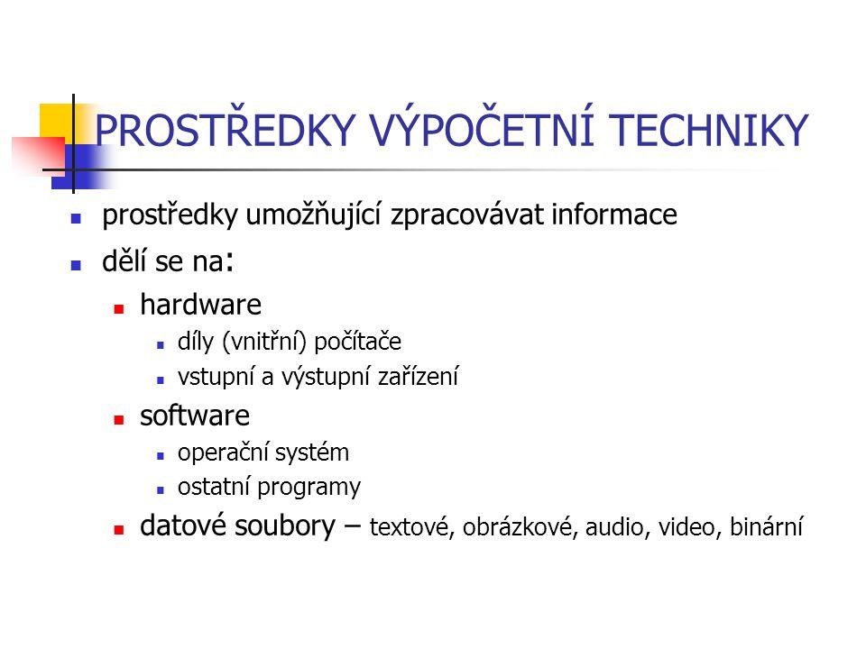 PROSTŘEDKY VÝPOČETNÍ TECHNIKY prostředky umožňující zpracovávat informace dělí se na : hardware díly (vnitřní) počítače vstupní a výstupní zařízení so