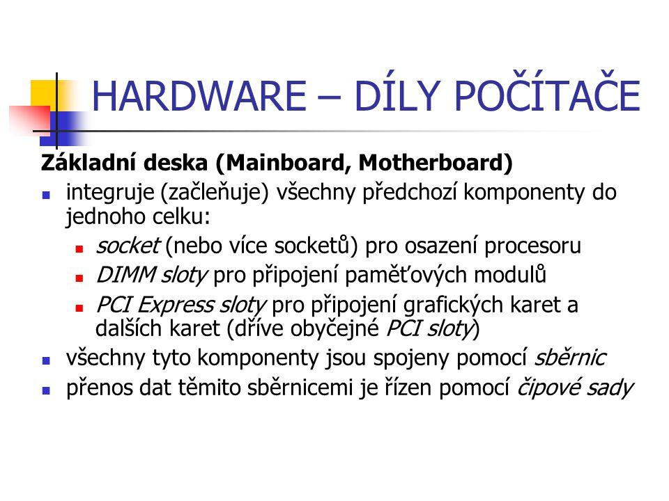 HARDWARE – DÍLY POČÍTAČE Základní deska (Mainboard, Motherboard) integruje (začleňuje) všechny předchozí komponenty do jednoho celku: socket (nebo víc