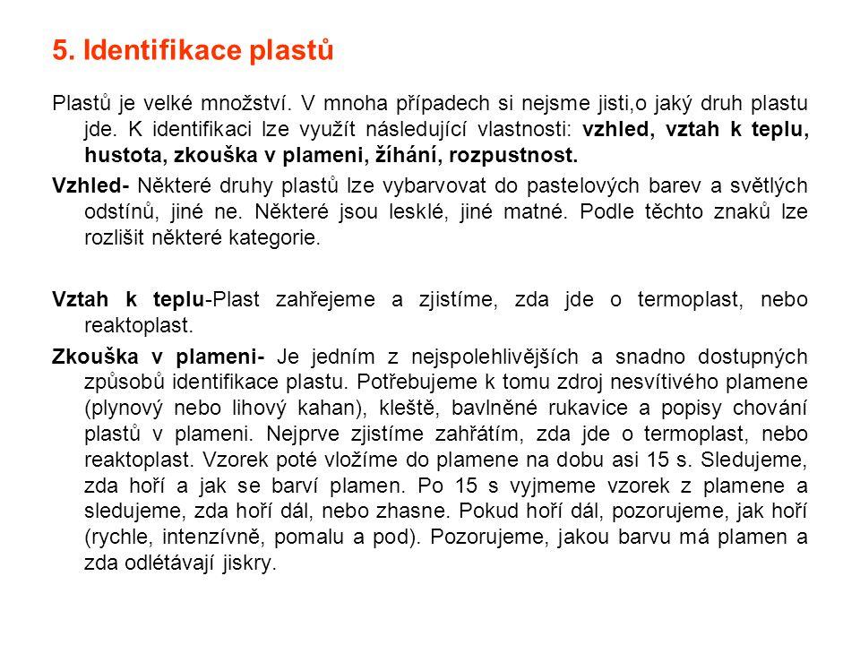 5. Identifikace plastů Plastů je velké množství. V mnoha případech si nejsme jisti,o jaký druh plastu jde. K identifikaci lze využít následující vlast