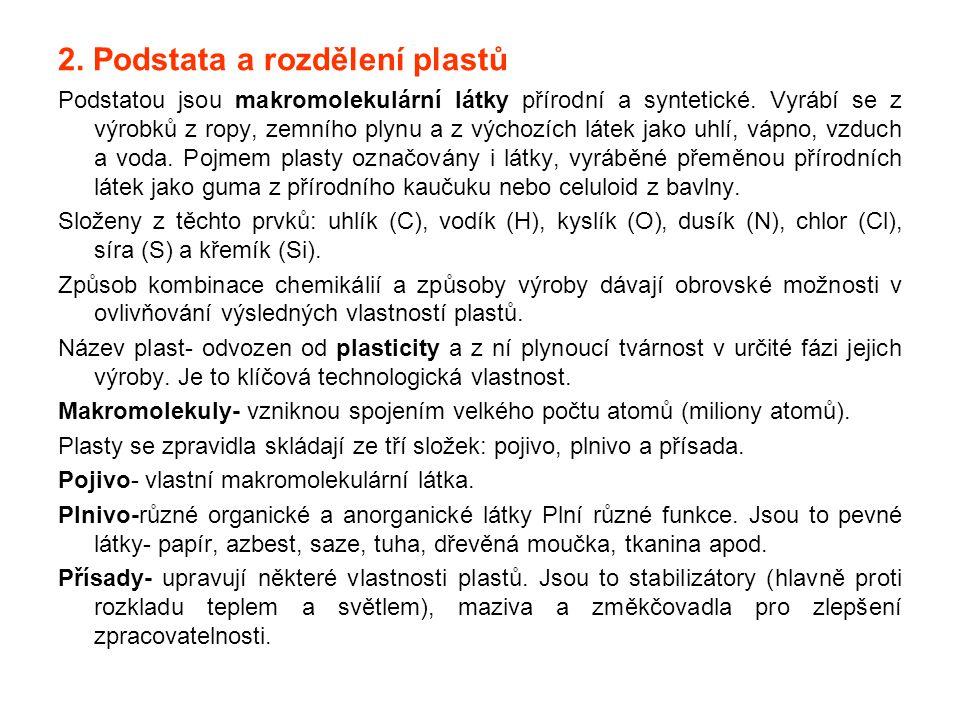 2. Podstata a rozdělení plastů Podstatou jsou makromolekulární látky přírodní a syntetické. Vyrábí se z výrobků z ropy, zemního plynu a z výchozích lá
