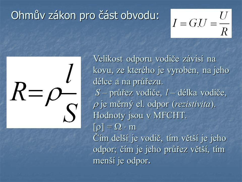 Ohmův zákon pro část obvodu: Velikost odporu vodiče závisí na kovu, ze kterého je vyroben, na jeho délce a na průřezu.