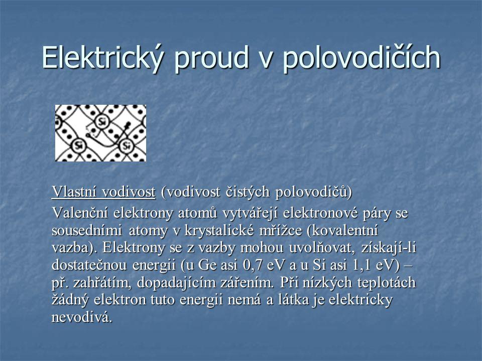 Elektrický proud v polovodičích Vlastní vodivost (vodivost čistých polovodičů) Valenční elektrony atomů vytvářejí elektronové páry se sousedními atomy v krystalické mřížce (kovalentní vazba).