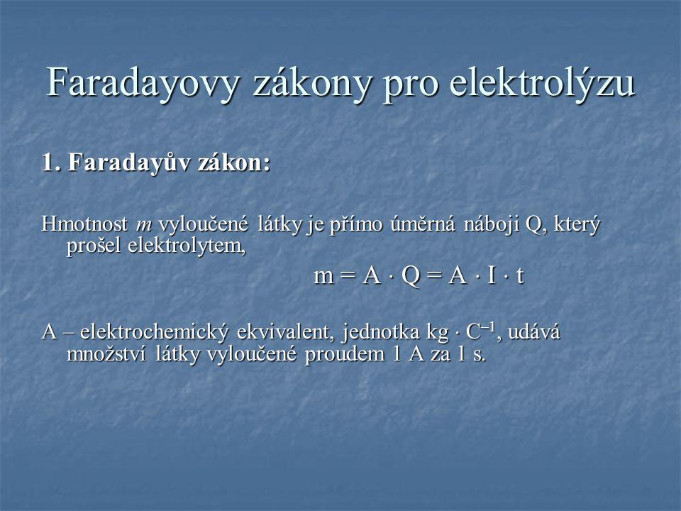 Faradayovy zákony pro elektrolýzu 1.